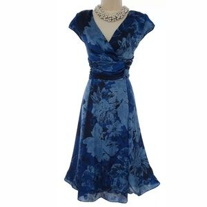 14 Large XL▪️ELEGANT BLUE FLORAL MIDI DRESS Summer